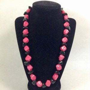 Black and Pink Chunks Necklace